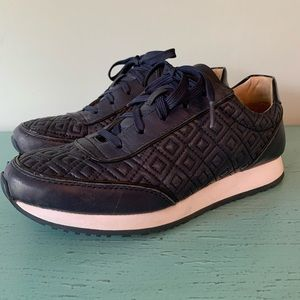 Adorable! Tory Burch Navy Quilted Tennis Shoes
